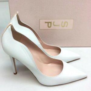 SJP   Leather White Cyrus Milk Nappa Pump Heels